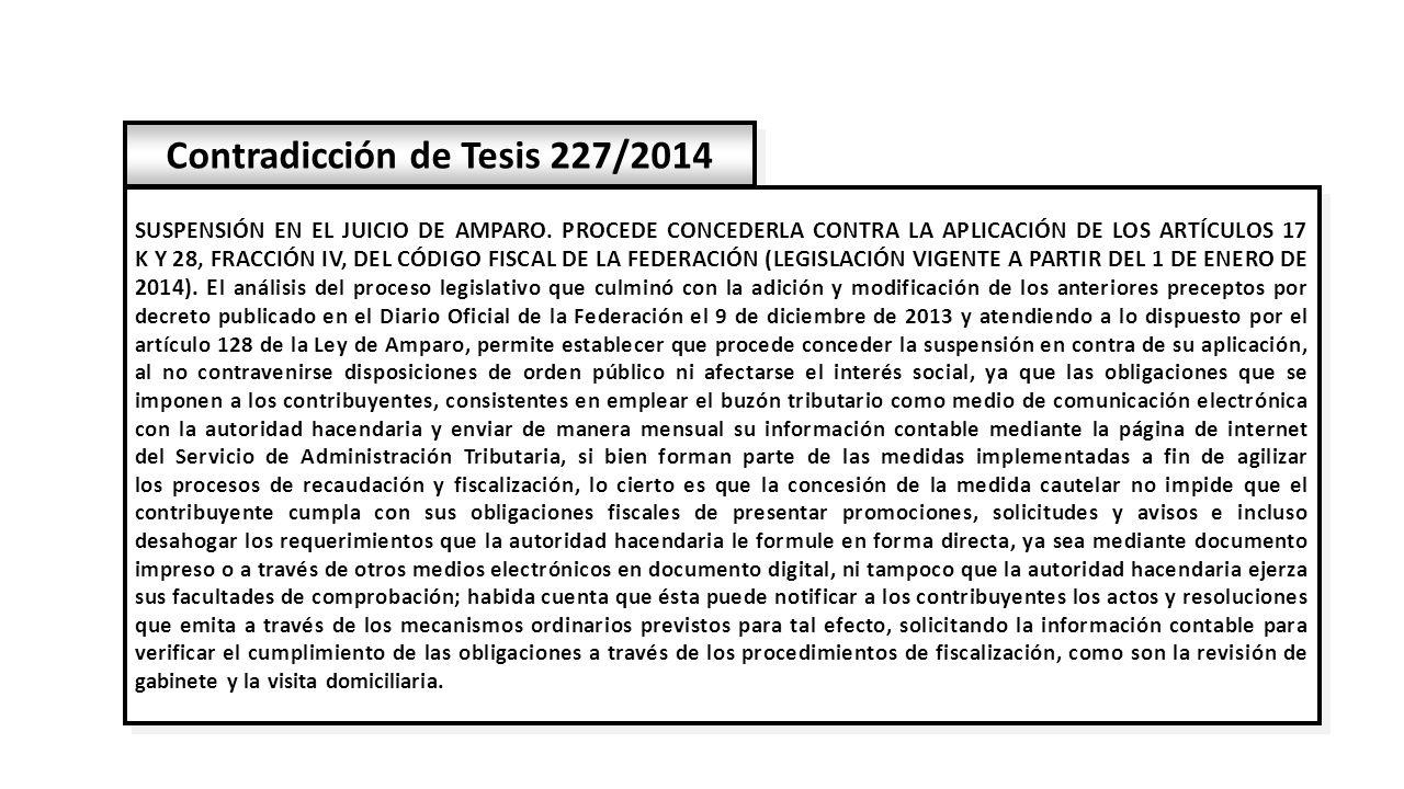 Contradicción de Tesis 227/2014 SUSPENSIÓN EN EL JUICIO DE AMPARO.