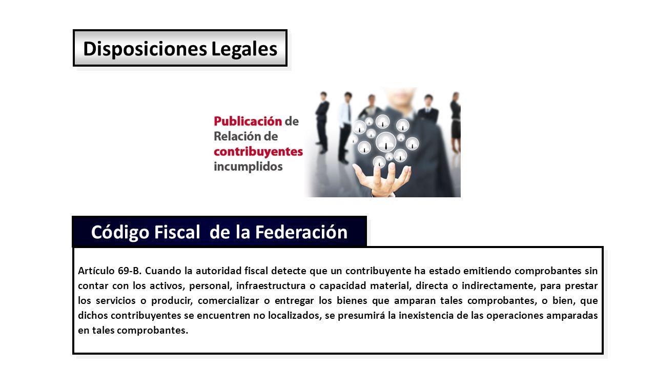 Disposiciones Legales Código Fiscal de la Federación Artículo 69-B.