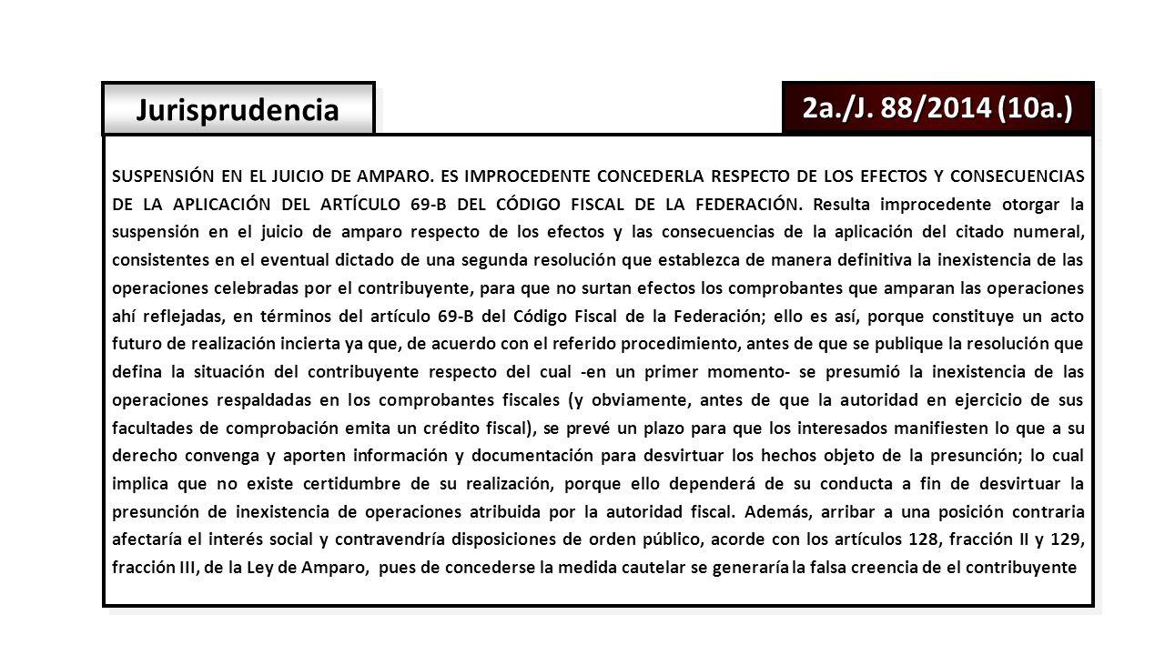 2a./J. 88/2014 (10a.) Jurisprudencia SUSPENSIÓN EN EL JUICIO DE AMPARO.