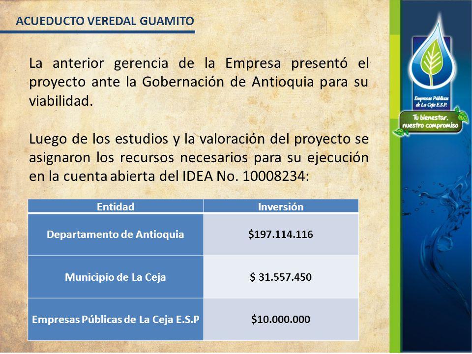 La anterior gerencia de la Empresa presentó el proyecto ante la Gobernación de Antioquia para su viabilidad.