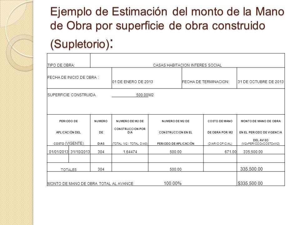 Ejemplo de Estimación del monto de la Mano de Obra por superficie de obra construido (Supletorio) : TIPO DE OBRA:CASAS HABITACION INTERES SOCIAL FECHA DE INICIO DE OBRA : 01 DE ENERO DE 2013 FECHA DE TERMINACION: 31 DE OCTUBRE DE 2013 SUPERFICIE CONSTRUIDA500.00M2 PERIODO DENUMERONUMERO DE M2 DE COSTO DE MANOMONTO DE MANO DE OBRA APLICACIÓN DELDE CONSTRUCCION POR DIACONSTRUCCION EN ELDE OBRA POR M2EN EL PERIODO DE VIGENCIA COSTO (VIGENTE) DIAS(TOTAL M2 / TOTAL DIAS)PERIODO DE APLICACIÓN(DIARIO OFICIAL) DEL AVISO (M2xPERIODOxCOSTOxM2) 01/01/201331/10/20133041.64474500.00671.00335,500.00 TOTALES 304 500.00 335,500.00 MONTO DE MANO DE OBRA TOTAL AL AVANCE 100.00% $335,500.00
