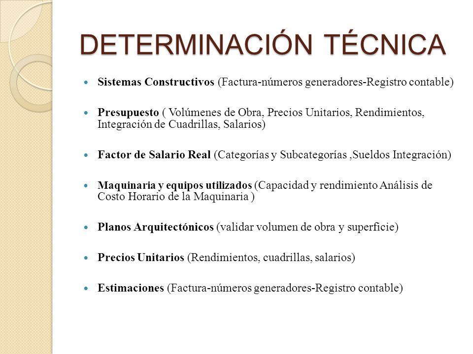 DETERMINACIÓN TÉCNICA Sistemas Constructivos (Factura-números generadores-Registro contable) Presupuesto ( Volúmenes de Obra, Precios Unitarios, Rendimientos, Integración de Cuadrillas, Salarios) Factor de Salario Real (Categorías y Subcategorías,Sueldos Integración) Maquinaria y equipos utilizados (Capacidad y rendimiento Análisis de Costo Horario de la Maquinaria ) Planos Arquitectónicos (validar volumen de obra y superficie) Precios Unitarios (Rendimientos, cuadrillas, salarios) Estimaciones (Factura-números generadores-Registro contable)