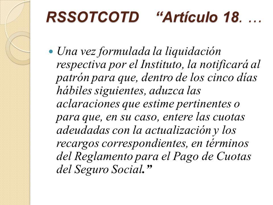 RSSOTCOTD Artículo 18.