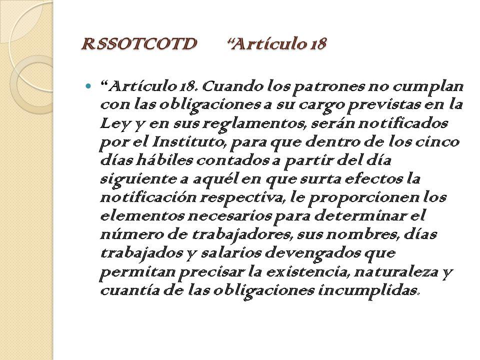 RSSOTCOTD Artículo 18 Artículo 18.
