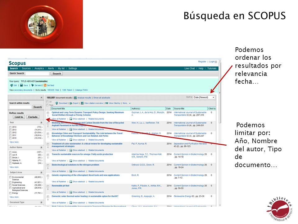 Podemos limitar por: Año, Nombre del autor, Tipo de documento… Búsqueda en SCOPUS Podemos ordenar los resultados por relevancia fecha…