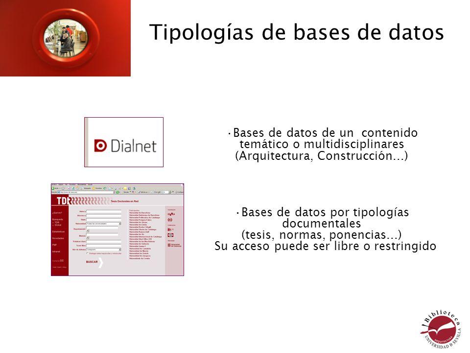 Bases de datos de un contenido temático o multidisciplinares (Arquitectura, Construcción...) Bases de datos por tipologías documentales (tesis, normas, ponencias...) Su acceso puede ser libre o restringido Tipologías de bases de datos
