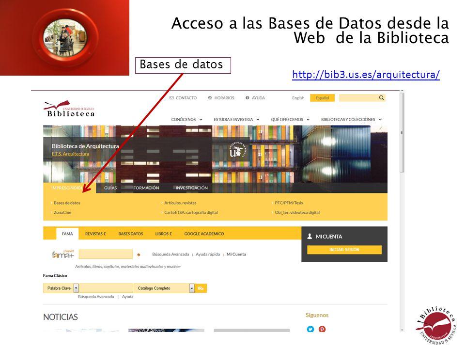 Acceso a las Bases de Datos desde la Web de la Biblioteca Bases de datos http://bib.us.es/arquitectura http://bib3.us.es/arquitectura/