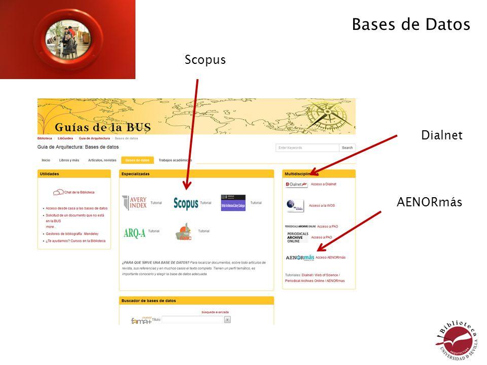 Bases de Datos Dialnet Scopus AENORmás