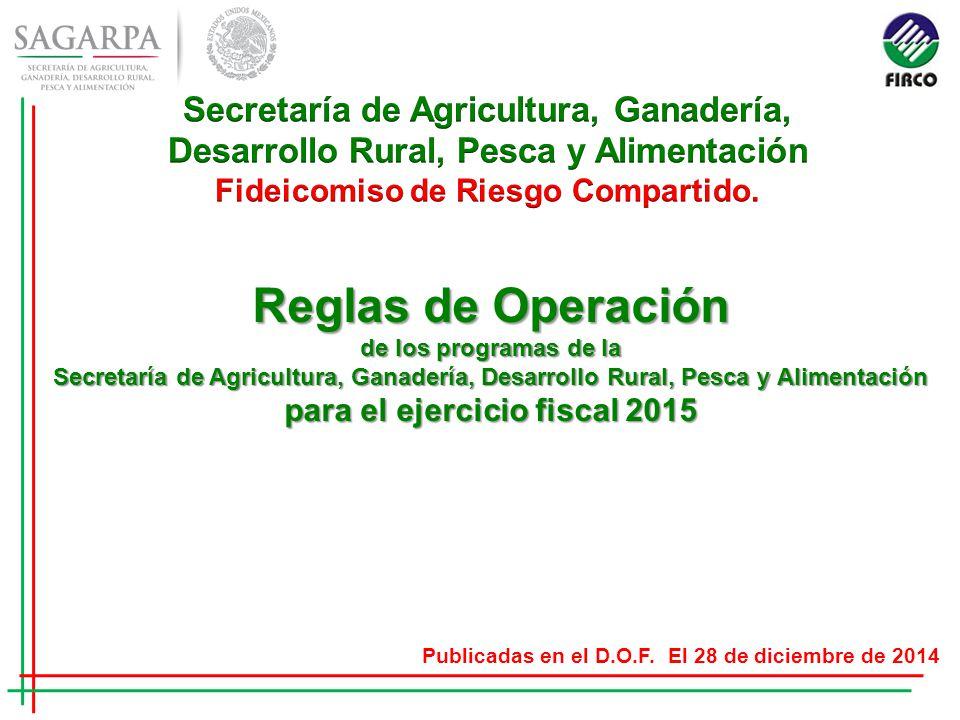 Reglas de Operación de los programas de la Secretaría de Agricultura, Ganadería, Desarrollo Rural, Pesca y Alimentación para el ejercicio fiscal 2015 Publicadas en el D.O.F.