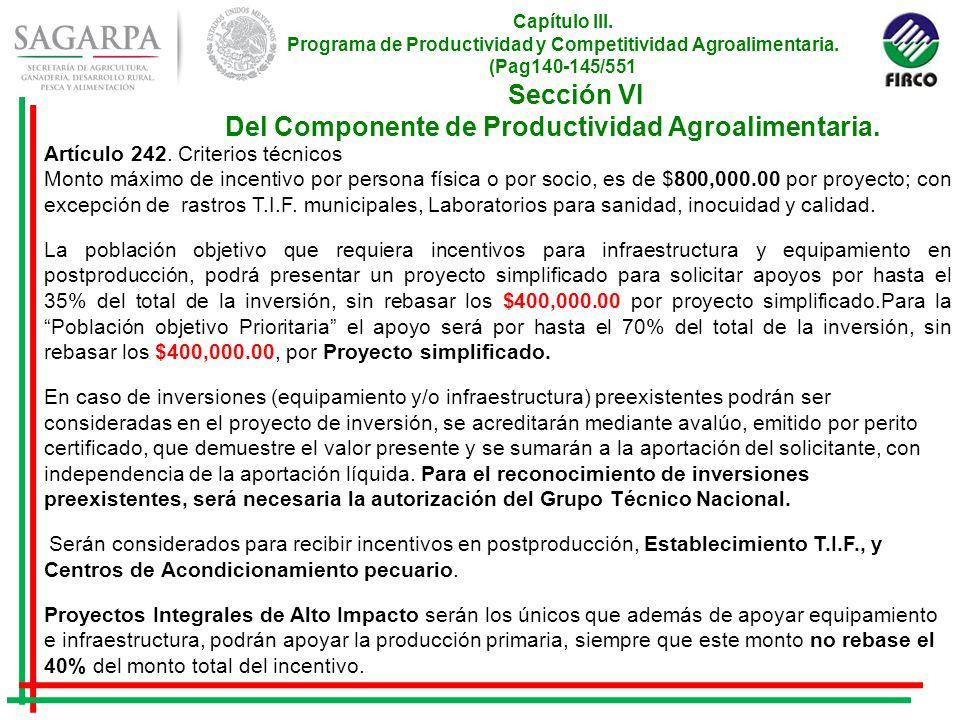 Capítulo III. Programa de Productividad y Competitividad Agroalimentaria.
