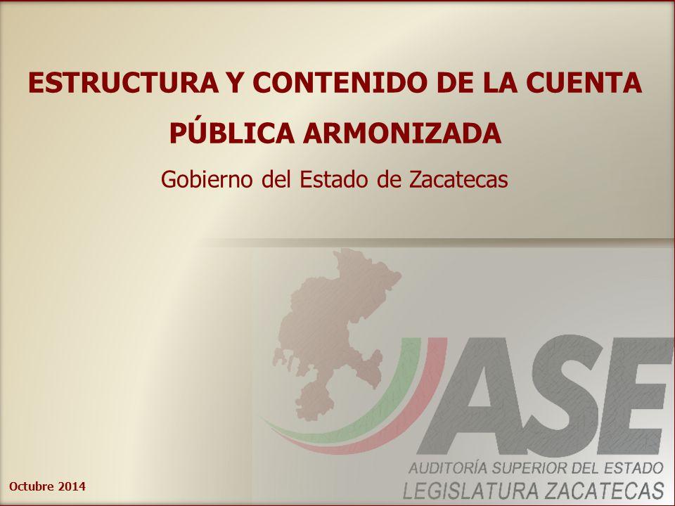 Octubre 2014 ESTRUCTURA Y CONTENIDO DE LA CUENTA PÚBLICA ARMONIZADA Gobierno del Estado de Zacatecas