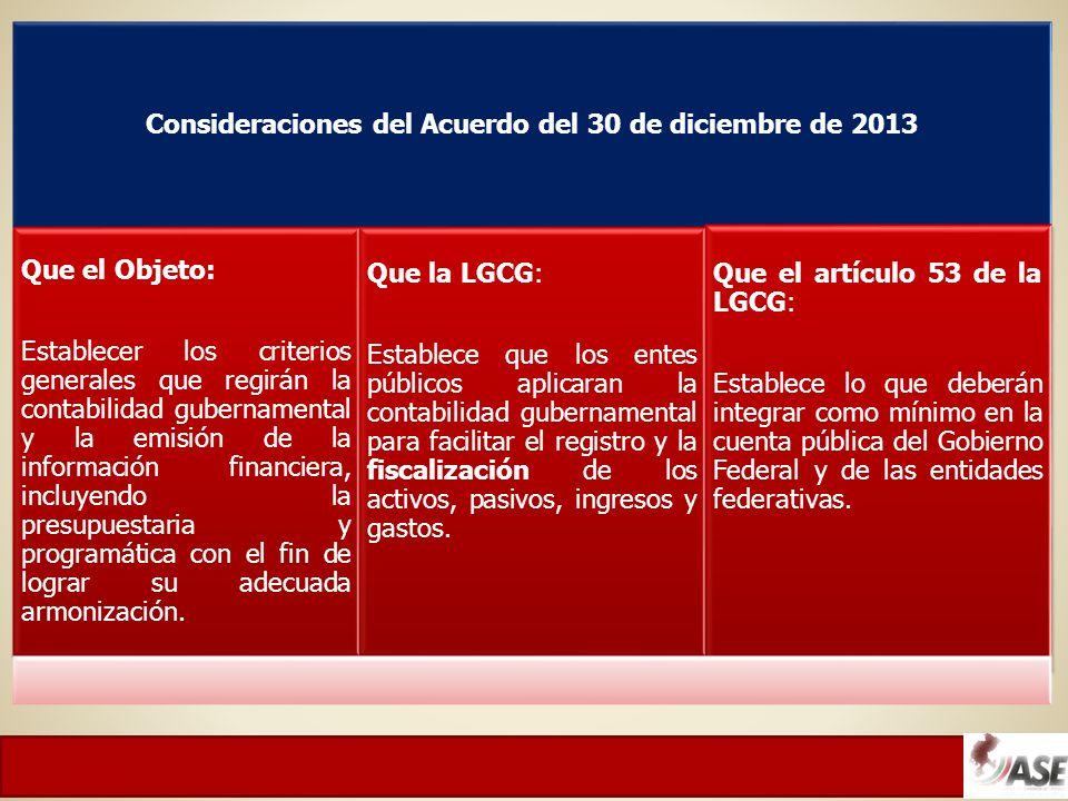 Consideraciones del Acuerdo del 30 de diciembre de 2013 Que el Objeto: Establecer los criterios generales que regirán la contabilidad gubernamental y la emisión de la información financiera, incluyendo la presupuestaria y programática con el fin de lograr su adecuada armonización.