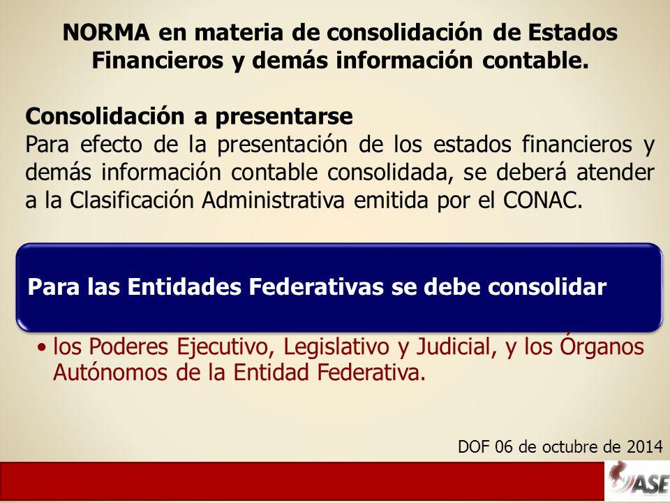 NORMA en materia de consolidación de Estados Financieros y demás información contable.