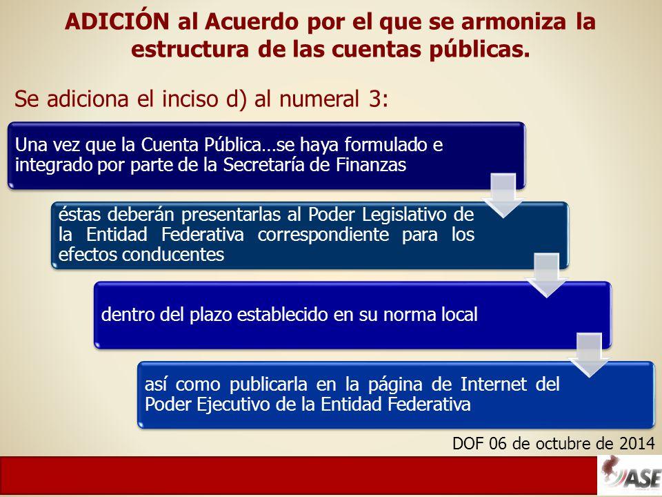ADICIÓN al Acuerdo por el que se armoniza la estructura de las cuentas públicas.