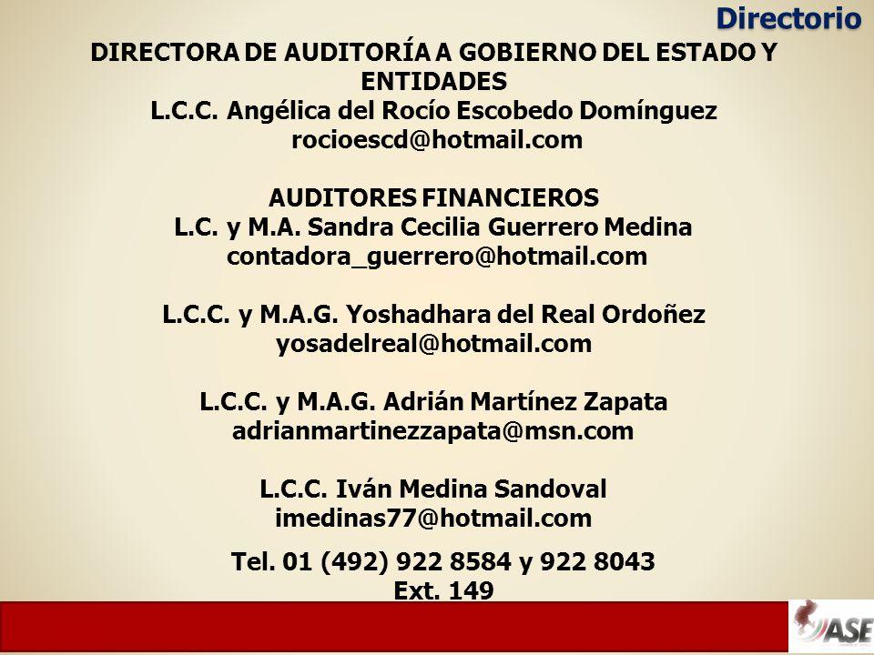 DIRECTORA DE AUDITORÍA A GOBIERNO DEL ESTADO Y ENTIDADES L.C.C.