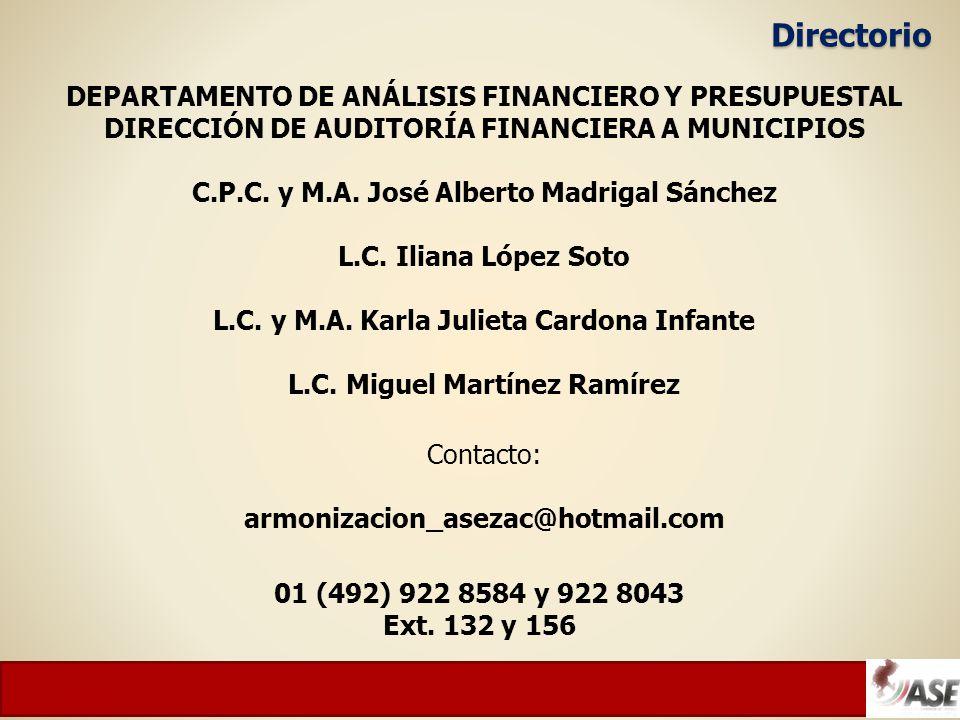 Directorio DEPARTAMENTO DE ANÁLISIS FINANCIERO Y PRESUPUESTAL DIRECCIÓN DE AUDITORÍA FINANCIERA A MUNICIPIOS C.P.C.