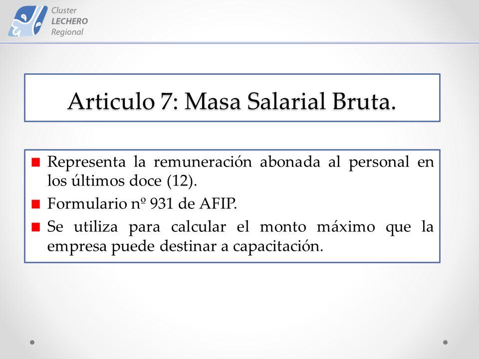 Articulo 7: Masa Salarial Bruta.