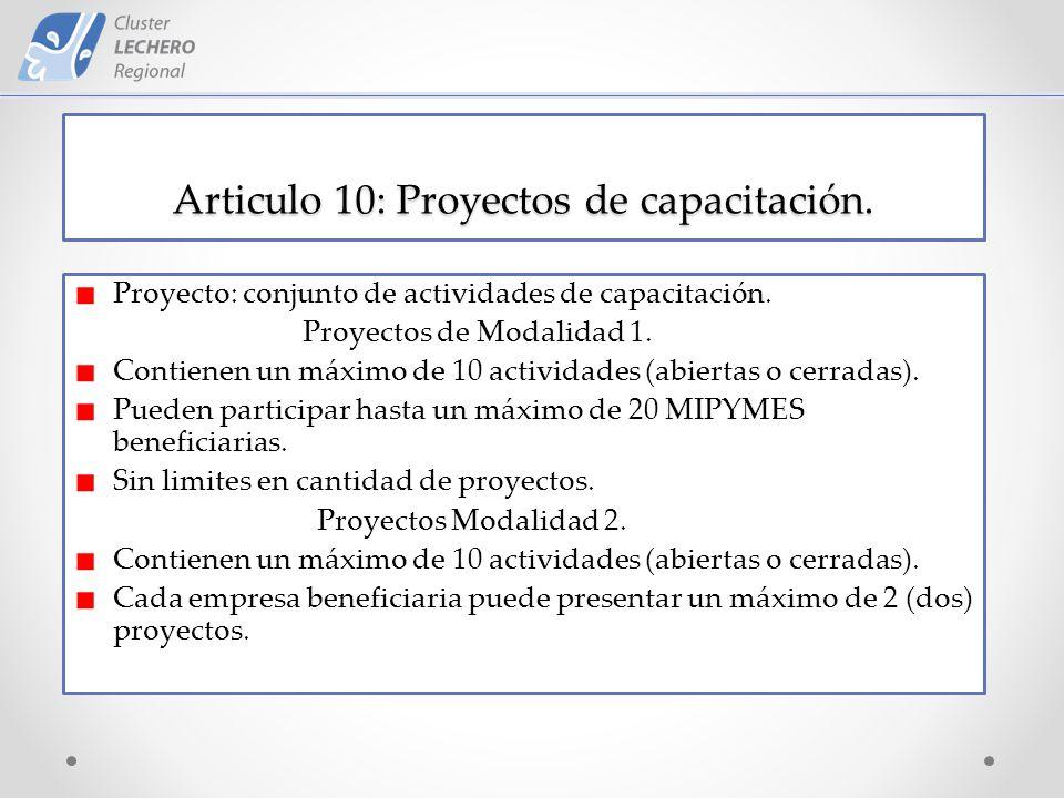 Articulo 10: Proyectos de capacitación. Proyecto: conjunto de actividades de capacitación.