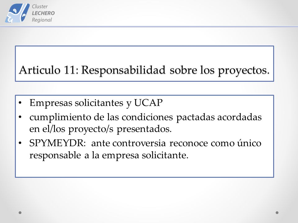 Articulo 11: Responsabilidad sobre los proyectos.