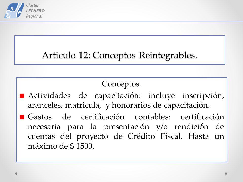 Articulo 12: Conceptos Reintegrables. Conceptos.