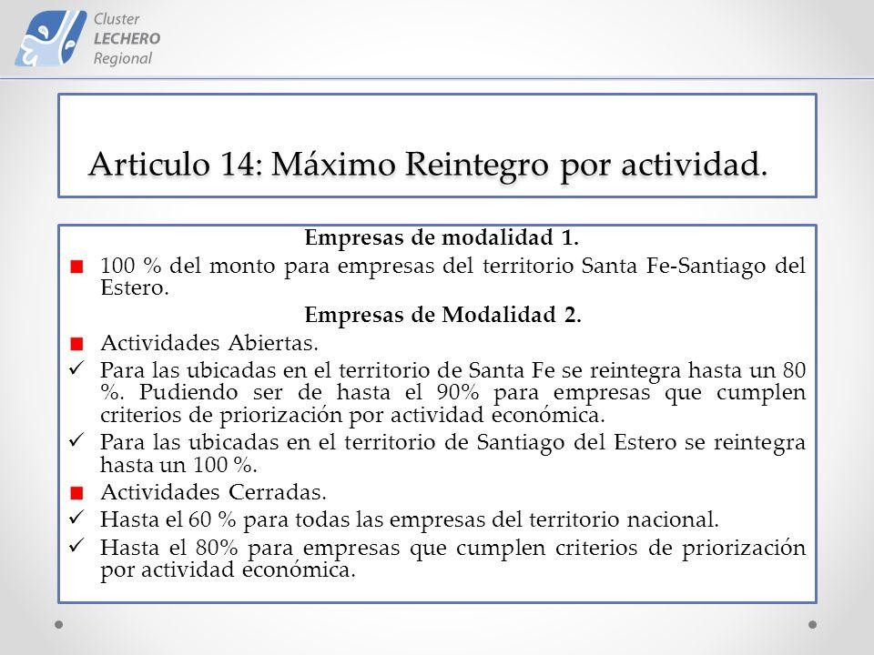 Articulo 14: Máximo Reintegro por actividad. Empresas de modalidad 1.