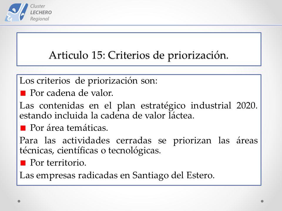 Articulo 15: Criterios de priorización. Los criterios de priorización son: Por cadena de valor.