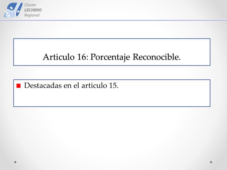 Articulo 16: Porcentaje Reconocible. Destacadas en el articulo 15.