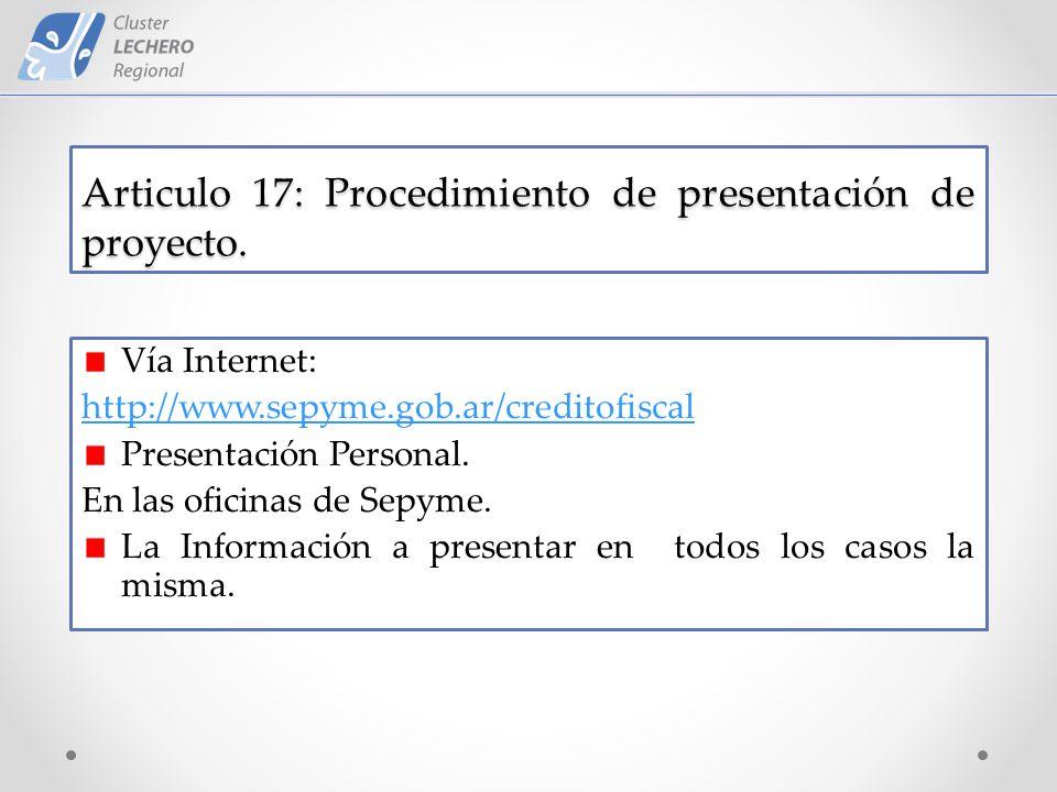 Articulo 17: Procedimiento de presentación de proyecto.