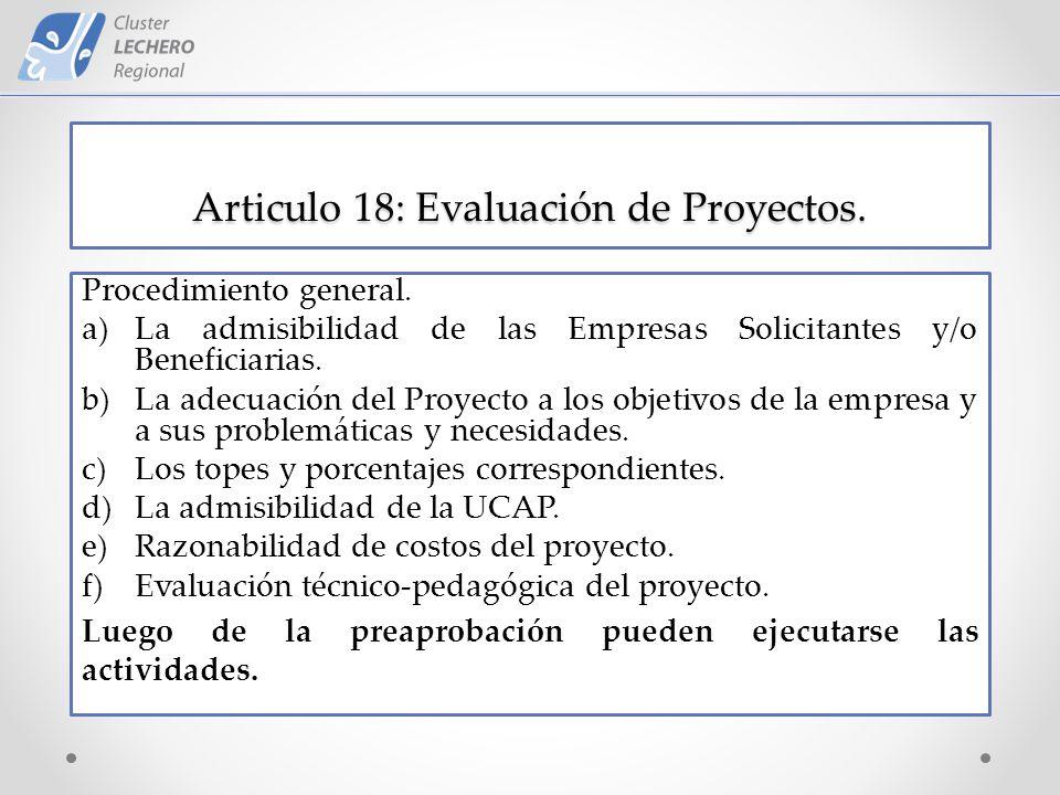 Articulo 18: Evaluación de Proyectos. Procedimiento general.