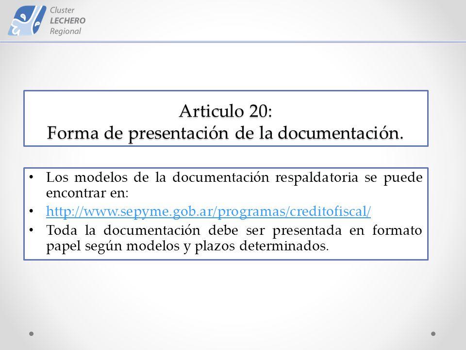 Articulo 20: Forma de presentación de la documentación.