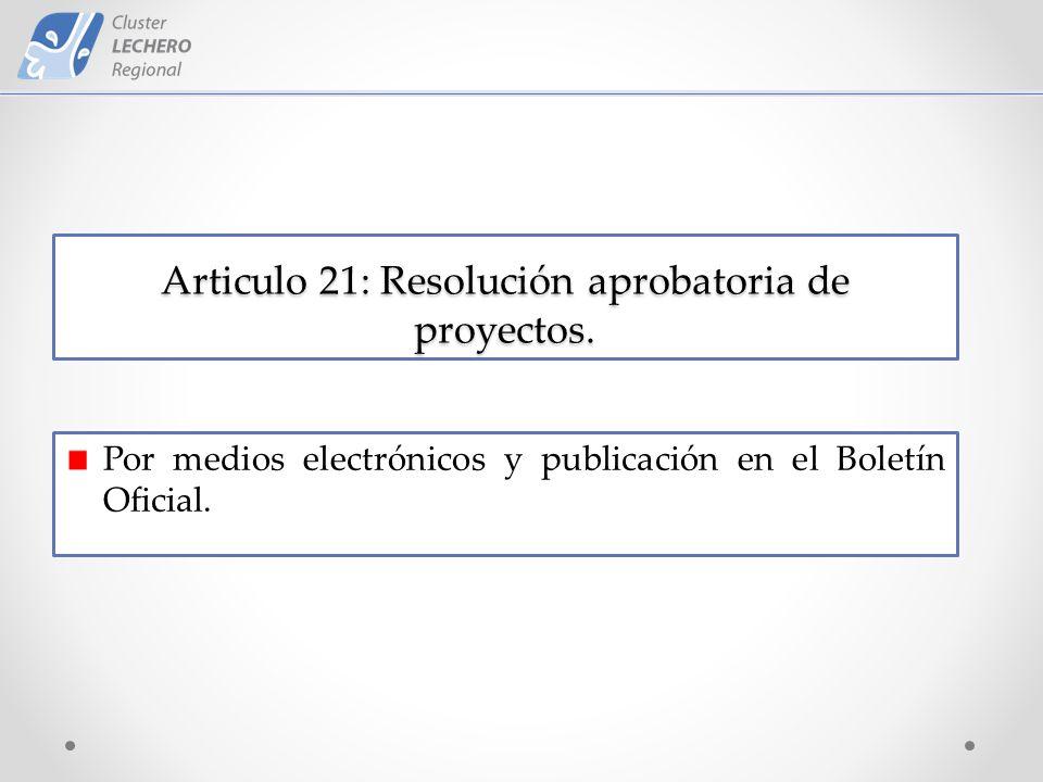 Articulo 21: Resolución aprobatoria de proyectos.