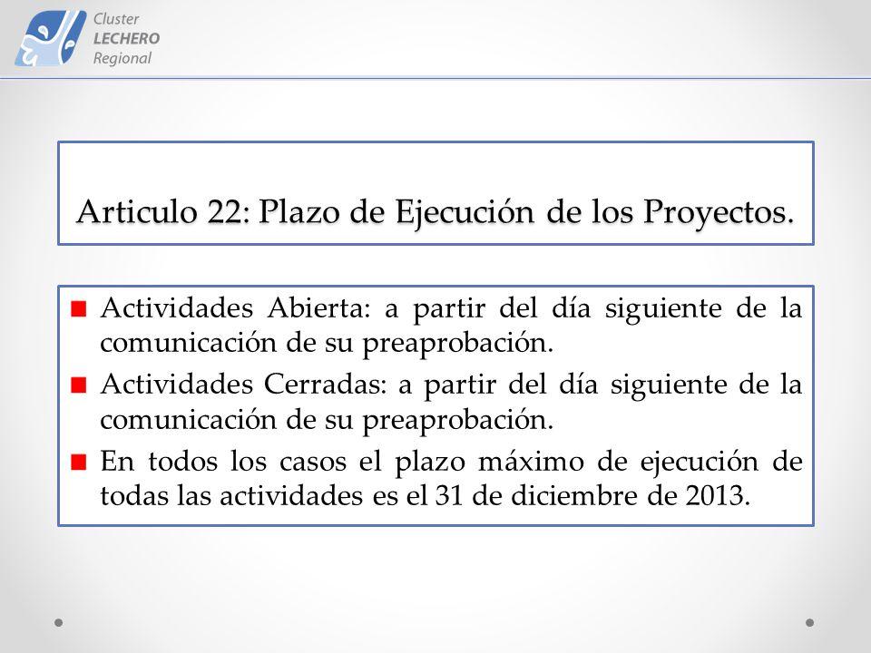 Articulo 22: Plazo de Ejecución de los Proyectos.