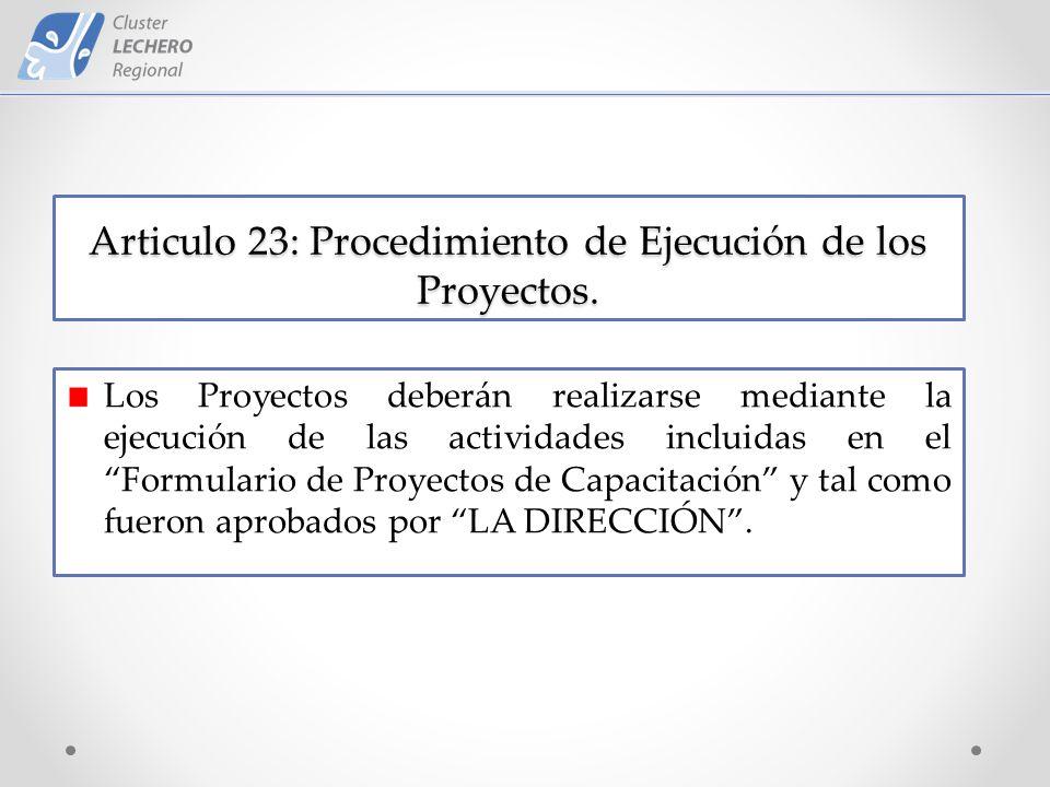 Articulo 23: Procedimiento de Ejecución de los Proyectos.