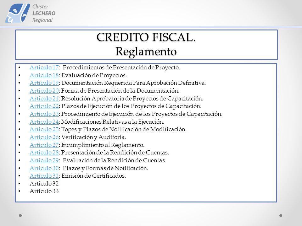 CREDITO FISCAL. Reglamento Articulo 17: Procedimientos de Presentación de Proyecto.