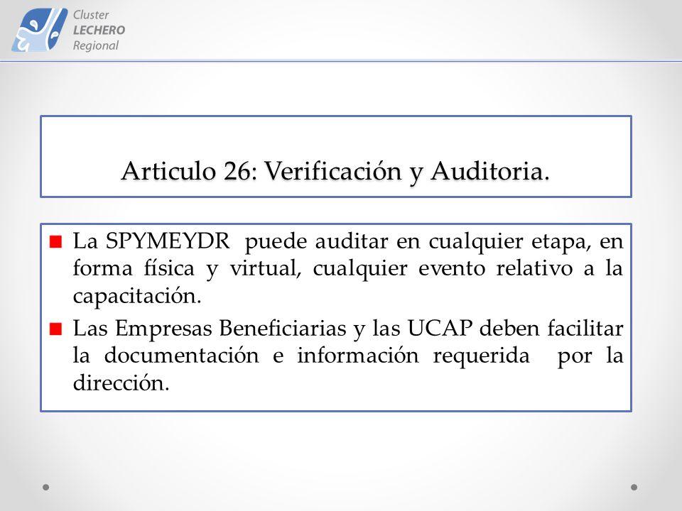 Articulo 26: Verificación y Auditoria.