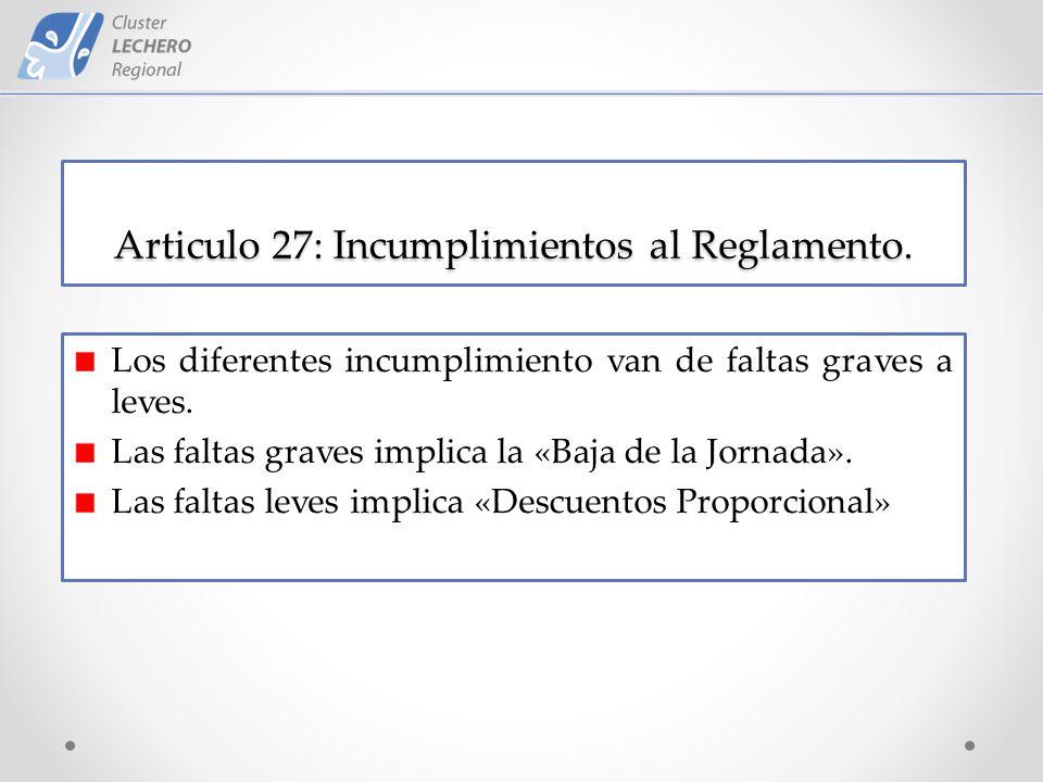 Articulo 27: Incumplimientos al Reglamento.