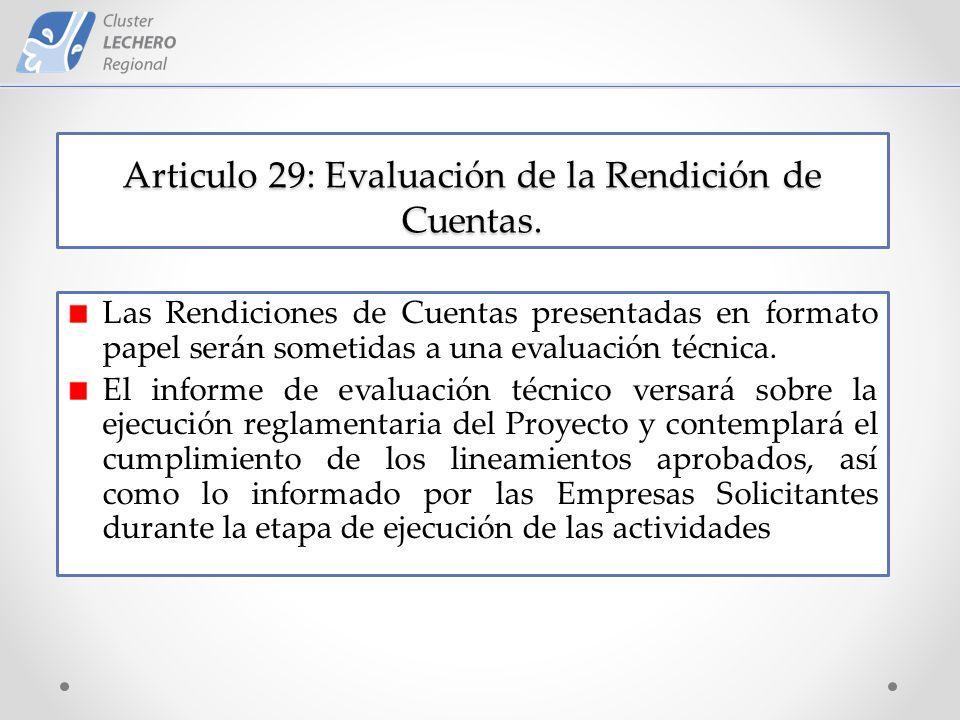 Articulo 29: Evaluación de la Rendición de Cuentas.
