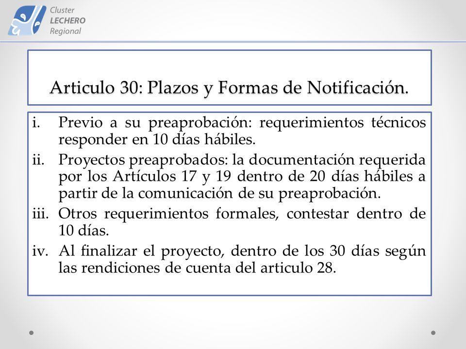 Articulo 30: Plazos y Formas de Notificación.