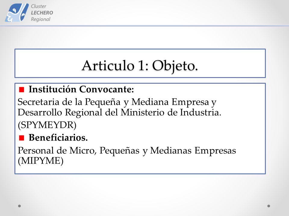 Articulo 1: Objeto.