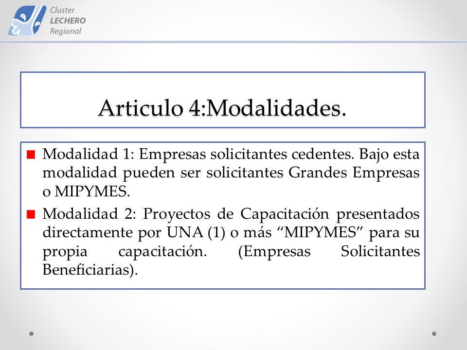 Articulo 4:Modalidades. Modalidad 1: Empresas solicitantes cedentes.