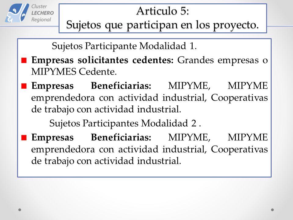Articulo 5: Sujetos que participan en los proyecto.
