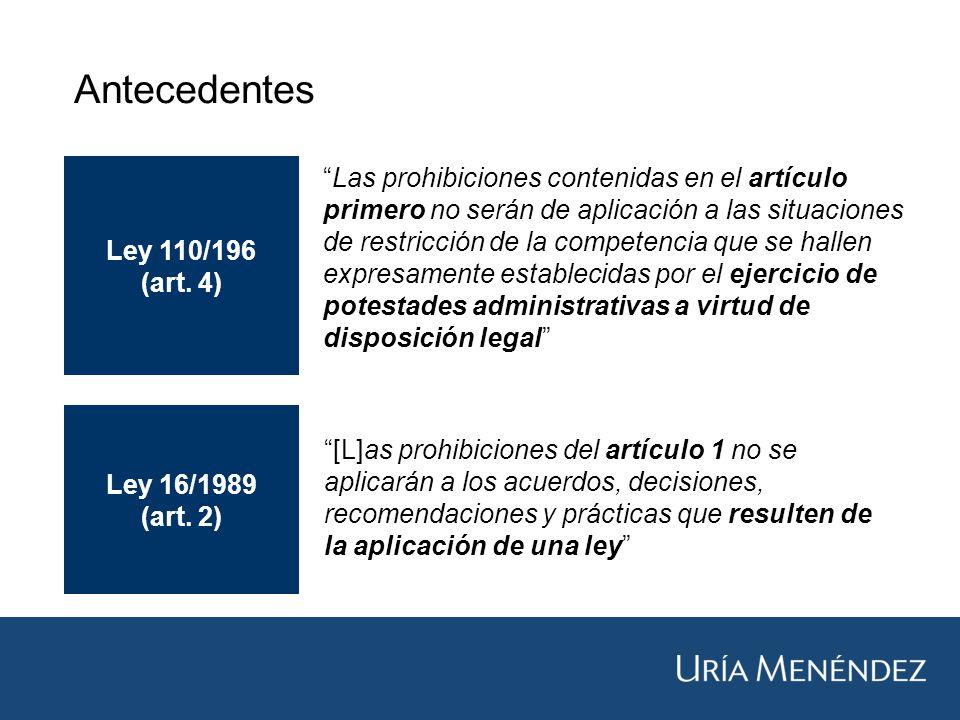 Antecedentes Ley 110/196 (art.