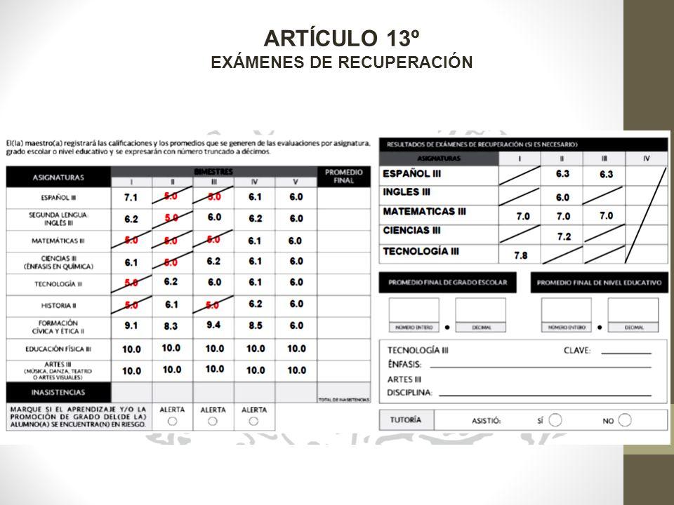ARTÍCULO 13º EXÁMENES DE RECUPERACIÓN