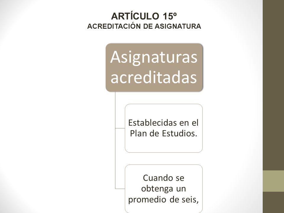 ARTÍCULO 15º ACREDITACIÓN DE ASIGNATURA Asignaturas acreditadas Establecidas en el Plan de Estudios.