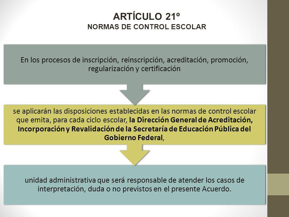 ARTÍCULO 21º NORMAS DE CONTROL ESCOLAR unidad administrativa que será responsable de atender los casos de interpretación, duda o no previstos en el presente Acuerdo.