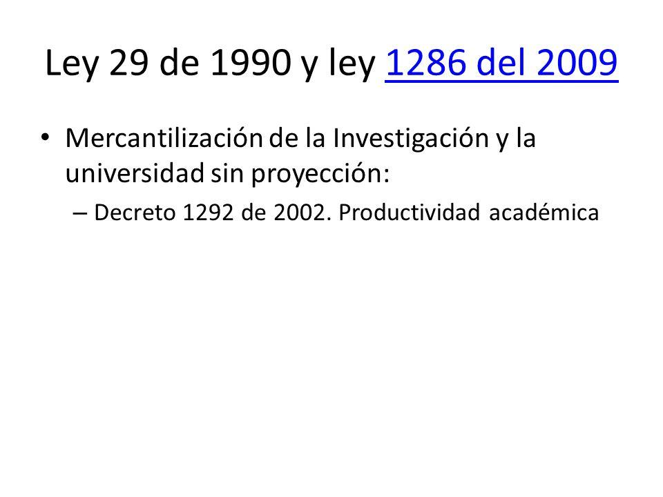 Ley 29 de 1990 y ley 1286 del 20091286 del 2009 Mercantilización de la Investigación y la universidad sin proyección: – Decreto 1292 de 2002.