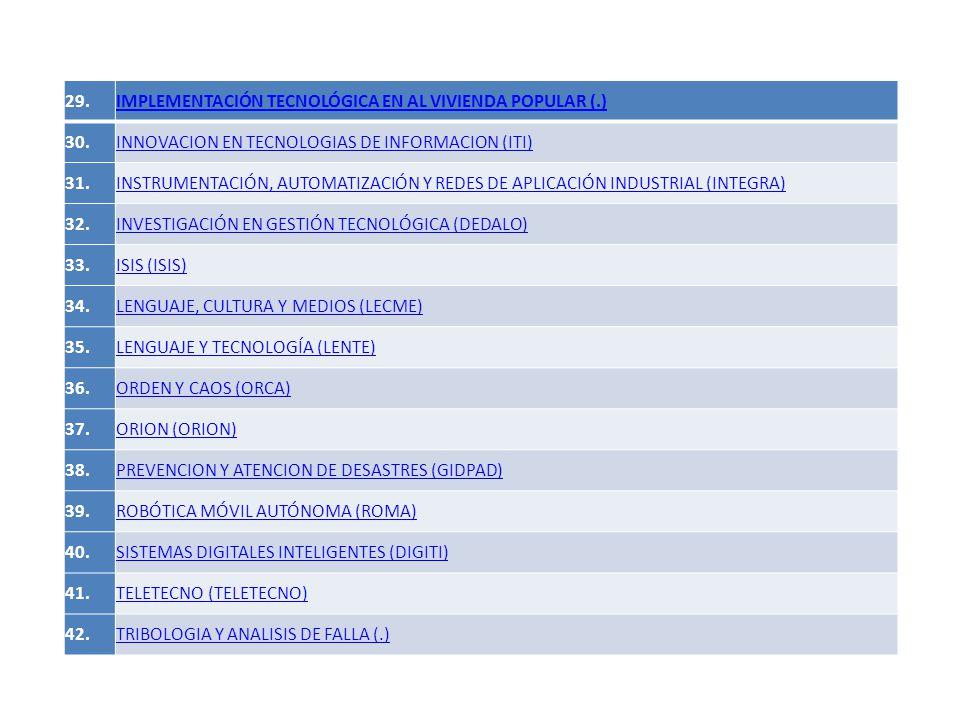 29.IMPLEMENTACIÓN TECNOLÓGICA EN AL VIVIENDA POPULAR (.) 30.INNOVACION EN TECNOLOGIAS DE INFORMACION (ITI) 31.INSTRUMENTACIÓN, AUTOMATIZACIÓN Y REDES DE APLICACIÓN INDUSTRIAL (INTEGRA) 32.INVESTIGACIÓN EN GESTIÓN TECNOLÓGICA (DEDALO) 33.ISIS (ISIS) 34.LENGUAJE, CULTURA Y MEDIOS (LECME) 35.LENGUAJE Y TECNOLOGÍA (LENTE) 36.ORDEN Y CAOS (ORCA) 37.ORION (ORION) 38.PREVENCION Y ATENCION DE DESASTRES (GIDPAD) 39.ROBÓTICA MÓVIL AUTÓNOMA (ROMA) 40.SISTEMAS DIGITALES INTELIGENTES (DIGITI) 41.TELETECNO (TELETECNO) 42.TRIBOLOGIA Y ANALISIS DE FALLA (.)