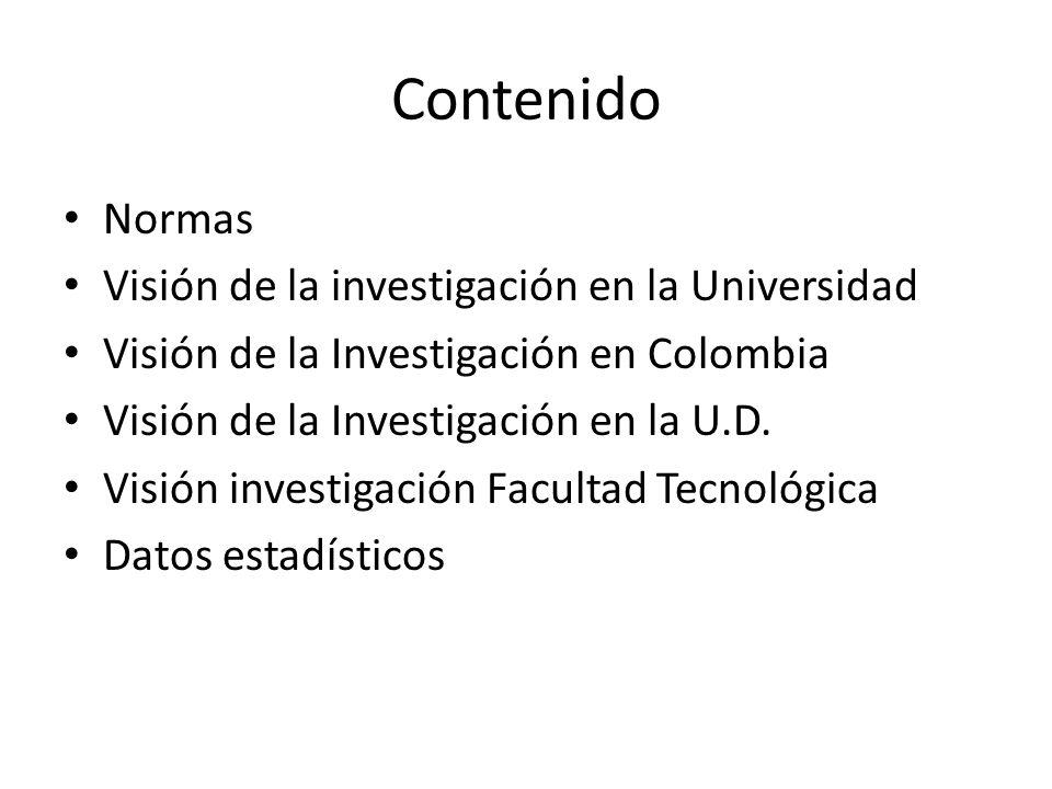 Contenido Normas Visión de la investigación en la Universidad Visión de la Investigación en Colombia Visión de la Investigación en la U.D.