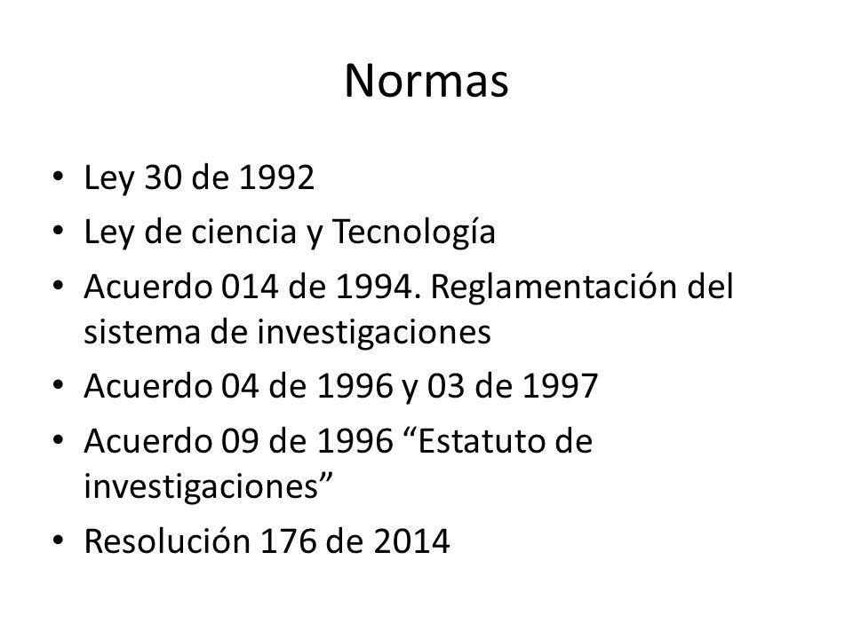 Normas Ley 30 de 1992 Ley de ciencia y Tecnología Acuerdo 014 de 1994.
