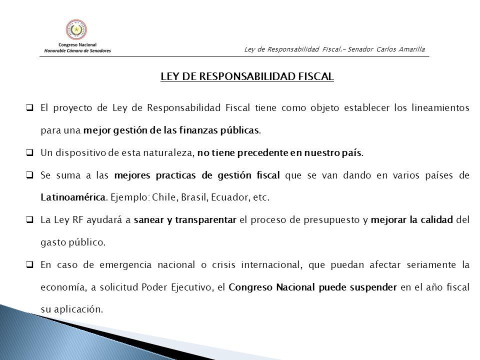 Ley de Responsabilidad Fiscal.- Senador Carlos Amarilla LEY DE RESPONSABILIDAD FISCAL  El proyecto de Ley de Responsabilidad Fiscal tiene como objeto establecer los lineamientos para una mejor gestión de las finanzas públicas.